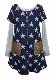 Hannah Banana Navy Mock Twofer Star Dress