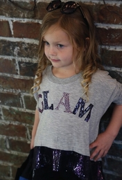 "Hannah Banana Precious Embellished Heather Grey ""Glam"" Top With Sequin Hem *FINAL SALE*"