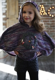 Hannah Banana Pretty Purple Hooded Poncho w/Peace Sign *PREORDER*