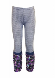 Hannah Banana Sweet Grey Floral & Stripe Leggings
