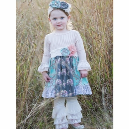 "Haute Baby ""Anna Louise"" Blue & Gray Twirling Dress"