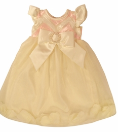 "Haute Baby ""Butter Creme"" Petal Ivory & Baby Pink Gown"