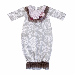 "Haute Baby ""C'est Chic"" Stunning Infant Gown & Cap Two Piece Set *PREORDER*"