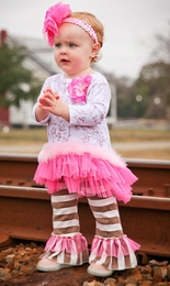 "Haute Baby ""Dream Puff"" Pink and Brown Ruffled Tunic Set *FINAL SALE*"