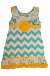 "Haute Baby ""Flitter Flutter"" Mixed Print Chevron Dress"