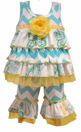 "Haute Baby ""Flitter Flutter"" Blue & Yellow Mixed Print Tunic Set"