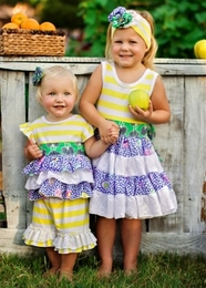 "Haute Baby ""Garden Party"" Striped Two Piece Swing Set <br>Sizes 12m - 4T"