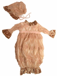 "Haute Baby ""Ivy Rose"" Gorgeous Infant Gown & Bonnet Two Piece Set *PREORDER*"