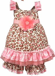 "Haute Baby ""Jenna Louise"" Fun Brown & Pink Two Piece Swing Set<br>Sizes 18m - 5"