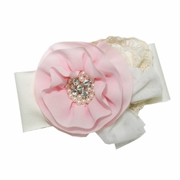 "Haute Baby ""Lacey Rose"" Soft Pink Headband"