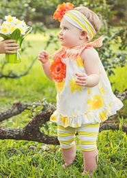 "Haute Baby ""Lazy Dazy"" Yellow Two Piece Tunic Set<br>Sizes 12m - 4T"