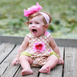 "Haute Baby ""May Flowers"" Rose & Green Baby Sunsuit"