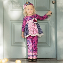 "Haute Baby ""Sugar Plum"" Mixed Print Tunic and Pant Two Piece Set"