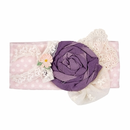 "Haute Baby ""Tessa Renee"" Ivory & Plum Stretch Knit Headband"