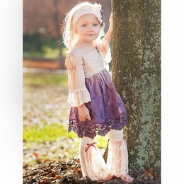 "Haute Baby ""Tessa Renee"" Lace Plum Ombre Two Piece Tunic Set"