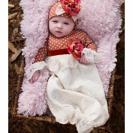 "Haute Baby ""Vintage Bouquet"" Stunning Infant Cap & Gown Set"