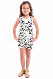 Haven Girl Black & White Alex Soft Knit Overall<br>Sizes 4 - 7/8
