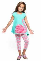 "Haven Girl ""Flamingo Floral"" Caribbean Alma Tunic & Palm Capri Legging Two Piece Set"