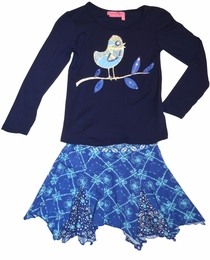 "Haven Girl Navy ""Bird in a Tree"" Tee & Hanky Skirt Two Piece Set<br>"