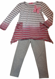 Haven Girl Ombre Grey Stripe Harlow Tunic & Grey Legging Two Piece Set
