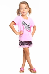 "Haven Girl ""Pink Ladies"" Livvie Top & Zebra Short 2 Piece Set<br>Sizes 5 - 7/8"