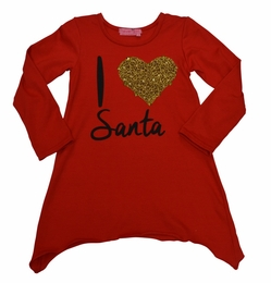 "Haven Girl Red ""I Love Santa"" Tunic Top *PREORDER*"