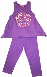"Haven Girl ""Smile Bright"" Lavender Alma Tank & Capri Legging Two Piece Set<br>Sizes 6X - 14"