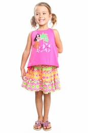 "Haven Girl ""Spring It On"" Pink Kyra Hawaiian Tank & Tiered Skirt Two Piece Set<br>Sizes 5 - 6X"