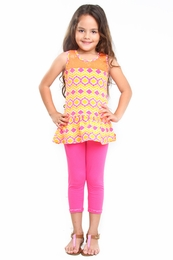 "Haven Girl ""Spring It On"" Pink & Orange Lily Tunic & Capri Leggings Two Piece Set<br>Sizes 5 - 14"