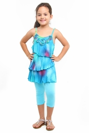 "Haven Girl ""Sweet Treat"" Blue Lizzy Tunic & Capri Leggings Two Piece Set<br>Sizes 7/8 - 14"