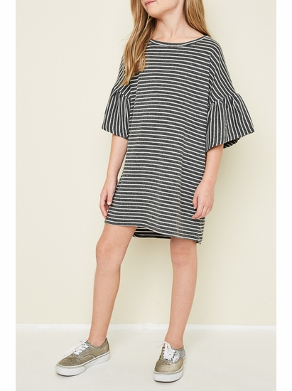 Hayden Charcoal Stripe Swing Dress