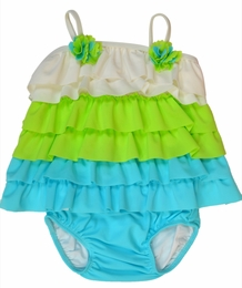 "Isobella & Chloe Adorable ""Sea Breeze"" Layered Turquoise Two Piece Tankini<br>Sizes 12m - 6X"