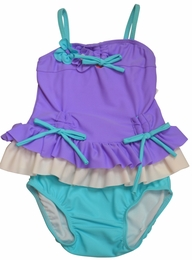 "Isobella & Chloe ""Arielle"" Lilac & Turquoise Two Piece Bow Tankini"
