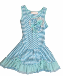 Isobella & Chloe Beautiful Blue Striped Drop Waist Dress<br>Sizes 4-10