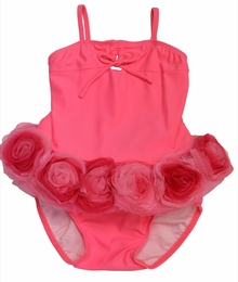 "Isobella & Chloe ""Bella Rose"" Deep Rose Flower Trimmed Tankini SOLD OUT!"