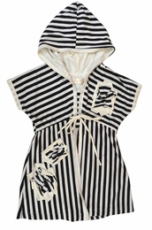 Isobella & Chloe Black Striped Beach Cover Up<br>Sizes 4-10