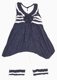 "Isobella & Chloe ""Bonnie Blue"" Navy Two Piece Tunic and Capri Set<br>Sizes 12m - 4T"
