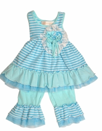 "Isobella & Chloe ""CandyLand"" Two Piece Blue Striped Swing Set<br>Sizes 12m - 6X"
