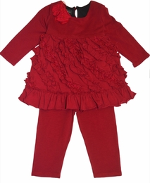 "Isobella & Chloe ""Carnival"" Ruby Red Holiday Knit Swing Top & Pant Two Piece Set<br>"