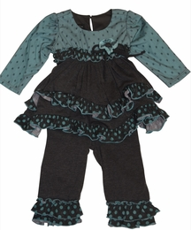 "Isobella & Chloe ""Caspian Sea"" Fancy Swing Top & Legging Set"