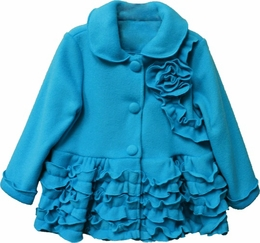 "Isobella & Chloe ""Claire"" Tiffany Blue Fancy Fleece Coat"