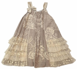 "Isobella & Chloe ""Cre�me Brulee"" Amazingly Detailed Dress<br>Sizes 4-14"