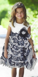"Isobella & Chloe ""Dancing Queen"" Amazing Black and White Ruffled Layer Dress<br>Sizes 2T, 3T & 4T"