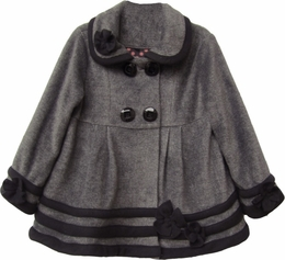 "Isobella & Chloe ""Duchess"" Minky Soft Charcoal Double Breasted Coat<br>*PREORDER*"