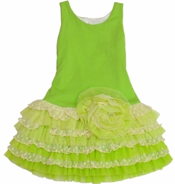 "Isobella & Chloe Electric Lime ""Evergreen"" Fun Drop Waist Dress"