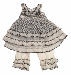 "Isobella & Chloe Grey ""Sunday Picnic"" Two Piece Precious Swing Set (GOING FAST!)<br>Sizes 12m - 4T"