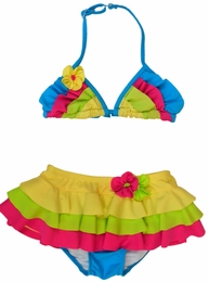 "Isobella & Chloe ""Hana Cabana"" Colorblock Skirted Two Piece Bikini<br>Sizes 4-10"