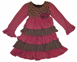 "Isobella & Chloe ""Harmony"" Fuschia and Leopard Ruffle A-Line Dress *FINAL SALE*"