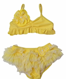 "Isobella & Chloe ""Lemon Drop"" Stunning Skirted Bikini Swimsuit<br>Sizes 2T - 6X"