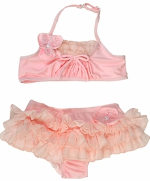 "Isobella & Chloe Light Pink ""Pearl Princess"" Two Piece Bikini Swimsuit<br>Sizes 2T - 6X"